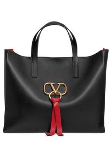 Valentino Garavani V-Ring Leather Tote