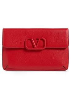 VALENTINO GARAVANI V-Sling Leather Flat Pouch