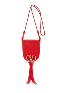 Valentino Garavani Vee Ring Small Leather Saddle Bag