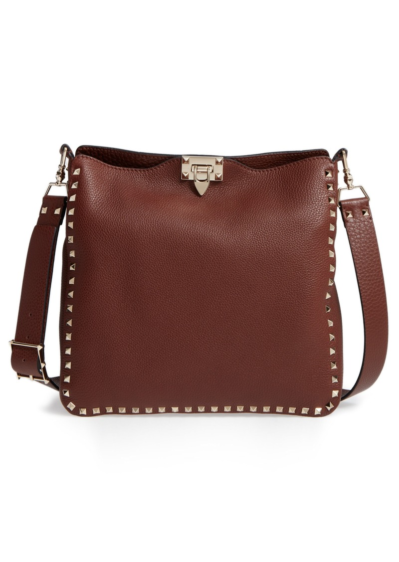 VALENTINO GARAVANI Vitello Rockstud Leather Hobo