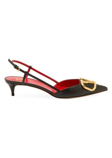 Valentino Garavani VLogo Leather Slingback Pumps