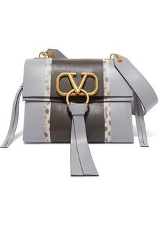 Valentino Garavani Vring Small Watersnake-trimmed Color-block Leather Shoulder Bag