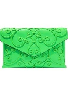 Valentino Garavani Woman Appliquéd Leather Envelope Clutch Bright Green