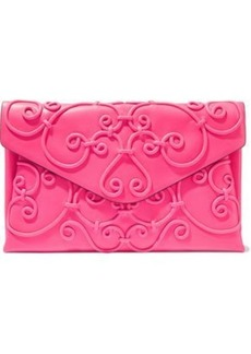 Valentino Garavani Woman Appliquéd Leather Envelope Clutch Bright Pink