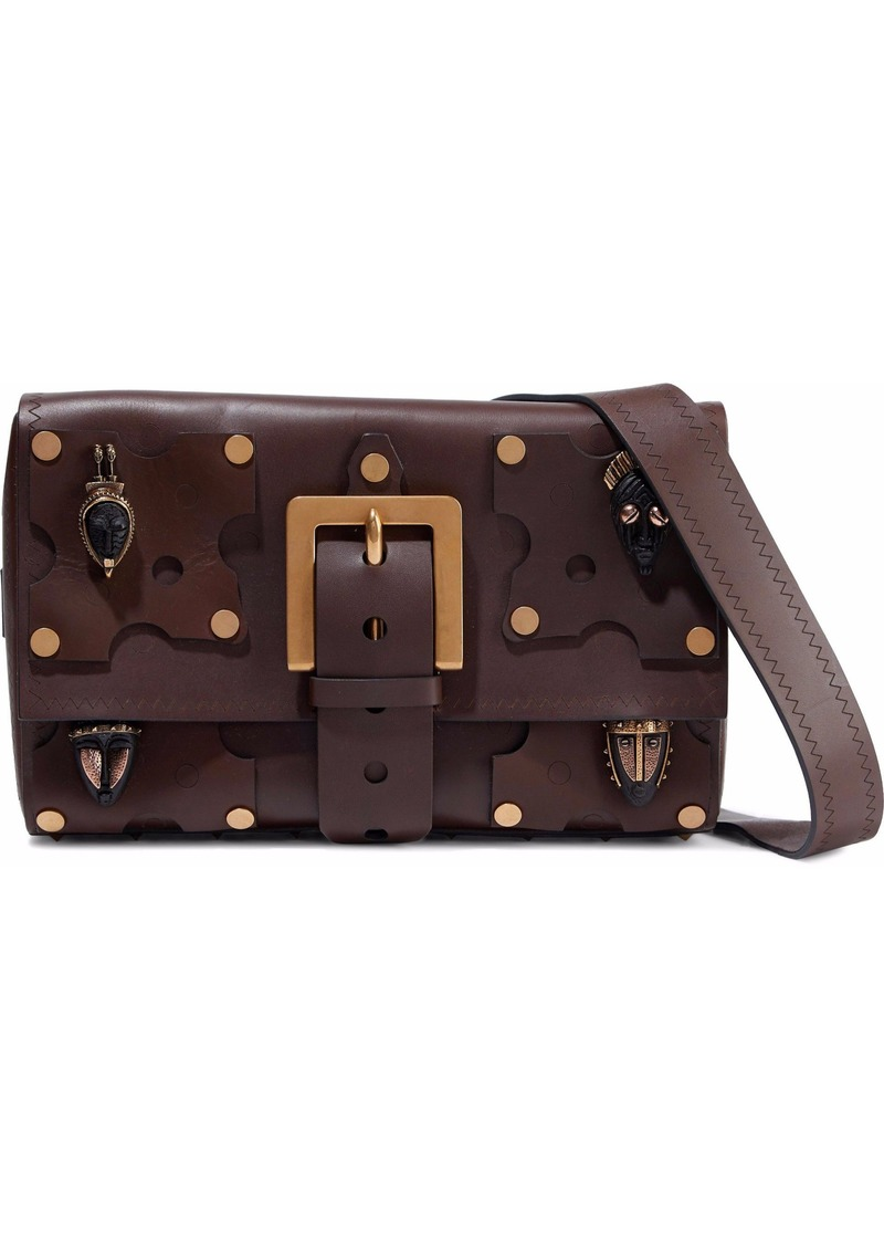 Valentino Garavani Woman Appliquéd Leather Shoulder Bag Dark Brown