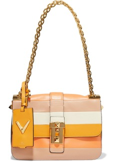 Valentino Garavani Woman B-rockstud Striped Paneled Leather Shoulder Bag Pastel Orange