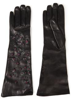 Valentino Garavani Woman Bead-embellished Leather Gloves Black