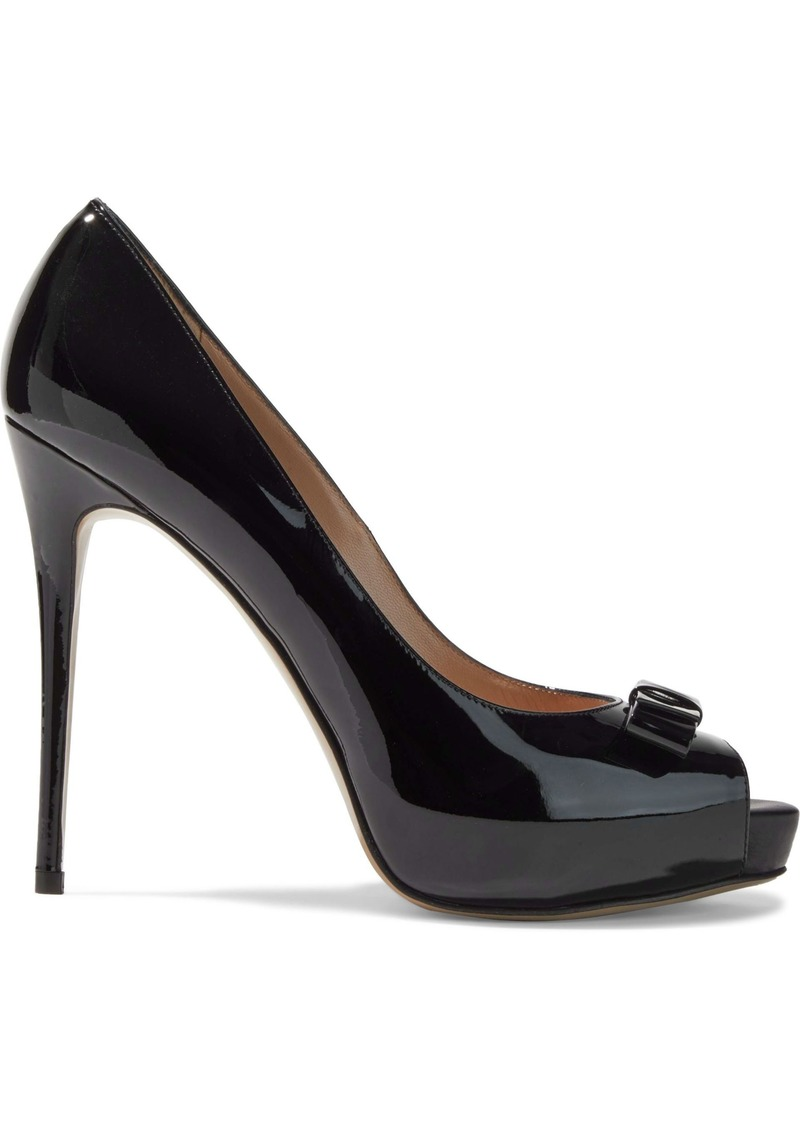 Valentino Garavani Woman Bow-embellished Patent-leather Platform Pumps Black
