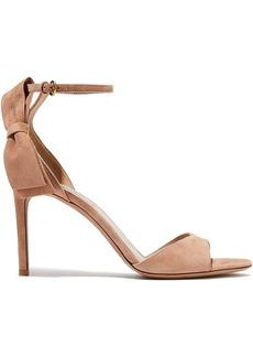 Valentino Garavani Woman Bow-embellished Suede Sandals Blush