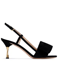 Valentino Garavani Woman Bow-embellished Suede Slingback Sandals Black
