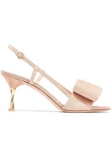 Valentino Garavani Woman Bow-embellished Suede Slingback Sandals Neutral