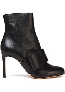 Valentino Garavani Woman Bow-embellished Textured-leather Ankle Boots Black
