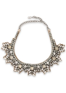 Valentino Garavani Woman Brilliant Flowers Silver-tone Silk-satin And Crystal Necklace Brass