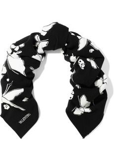 Valentino Garavani Woman Brushed Wool And Cotton-blend Jacquard Scarf Black