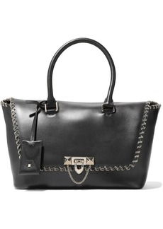 Valentino Garavani Woman Demilune Chain-trimmed Leather Tote Black