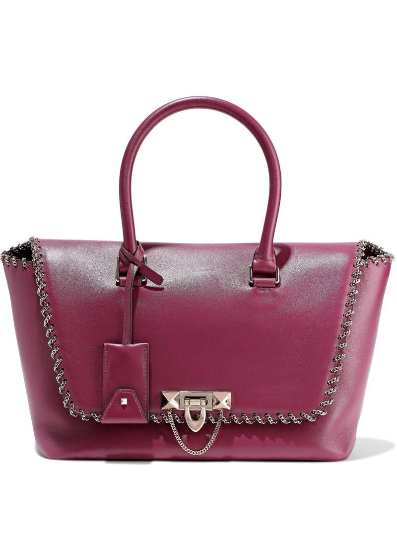 Valentino Garavani Woman Demilune Chain-trimmed Leather Tote Magenta