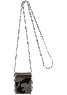 Valentino Garavani Woman Crystal-embellished Silver-tone And Enamel Compact Mirror Black