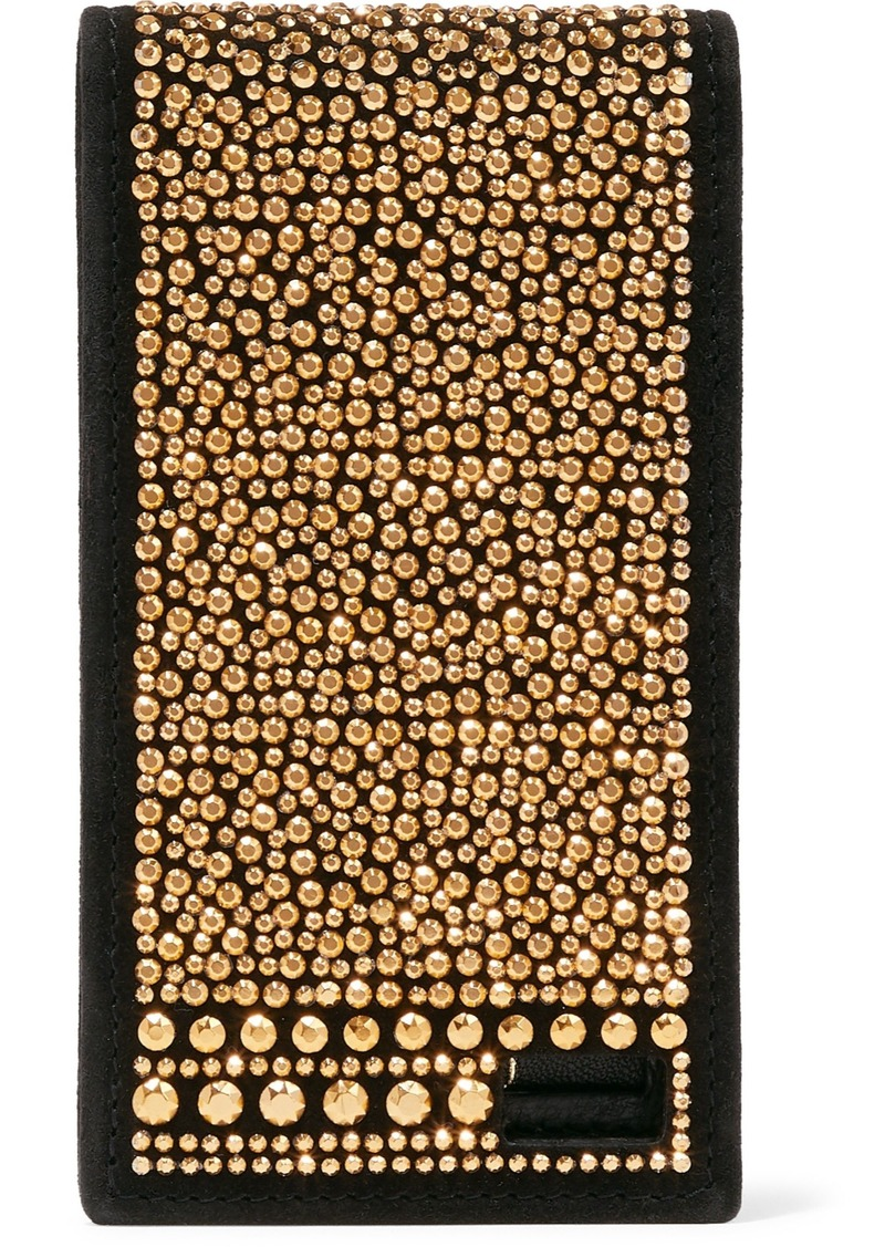 Valentino Garavani Woman Crystal-embellished Suede Phone Case Black