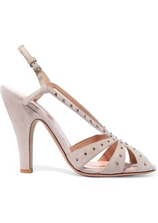 Valentino Garavani Woman Crystal-embellished Suede Sandals Blush