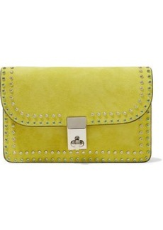 Valentino Garavani Woman Crystal-embellished Suede Shoulder Bag Chartreuse