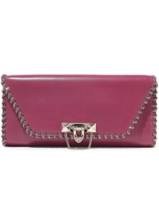 Valentino Garavani Woman Demilune Chain-embellished Leather Clutch Magenta