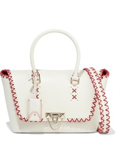 Valentino Garavani Woman Demilune Medium Whipstitched Leather Tote Off-white