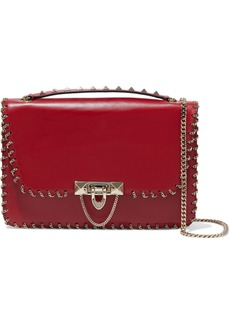 Valentino Garavani Woman Demilune Small Chain-trimmed Leather Shoulder Bag Crimson
