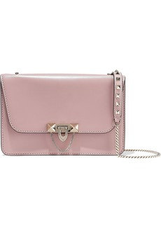 Valentino Garavani Woman Demilune Studded Chain-trimmed Leather Shoulder Bag Antique Rose