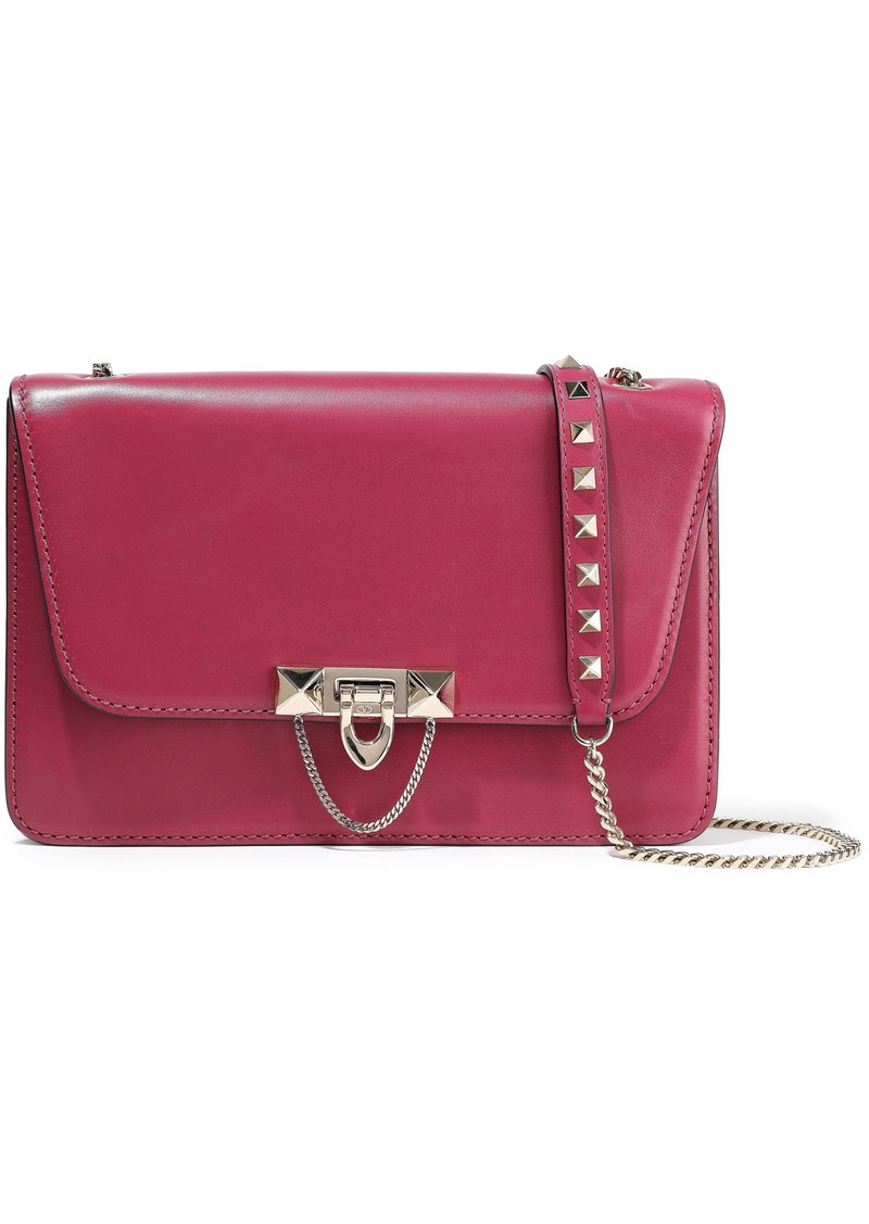 Valentino Garavani Woman Demilune Studded Chain-trimmed Leather Shoulder Bag Magenta