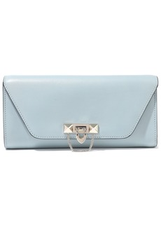Valentino Garavani Woman Demilune Studded Leather Clutch Sky Blue