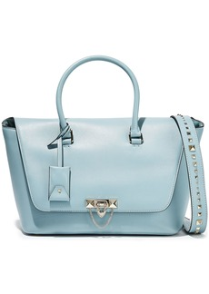 Valentino Garavani Woman Demilune Studded Leather Shoulder Bag Sky Blue