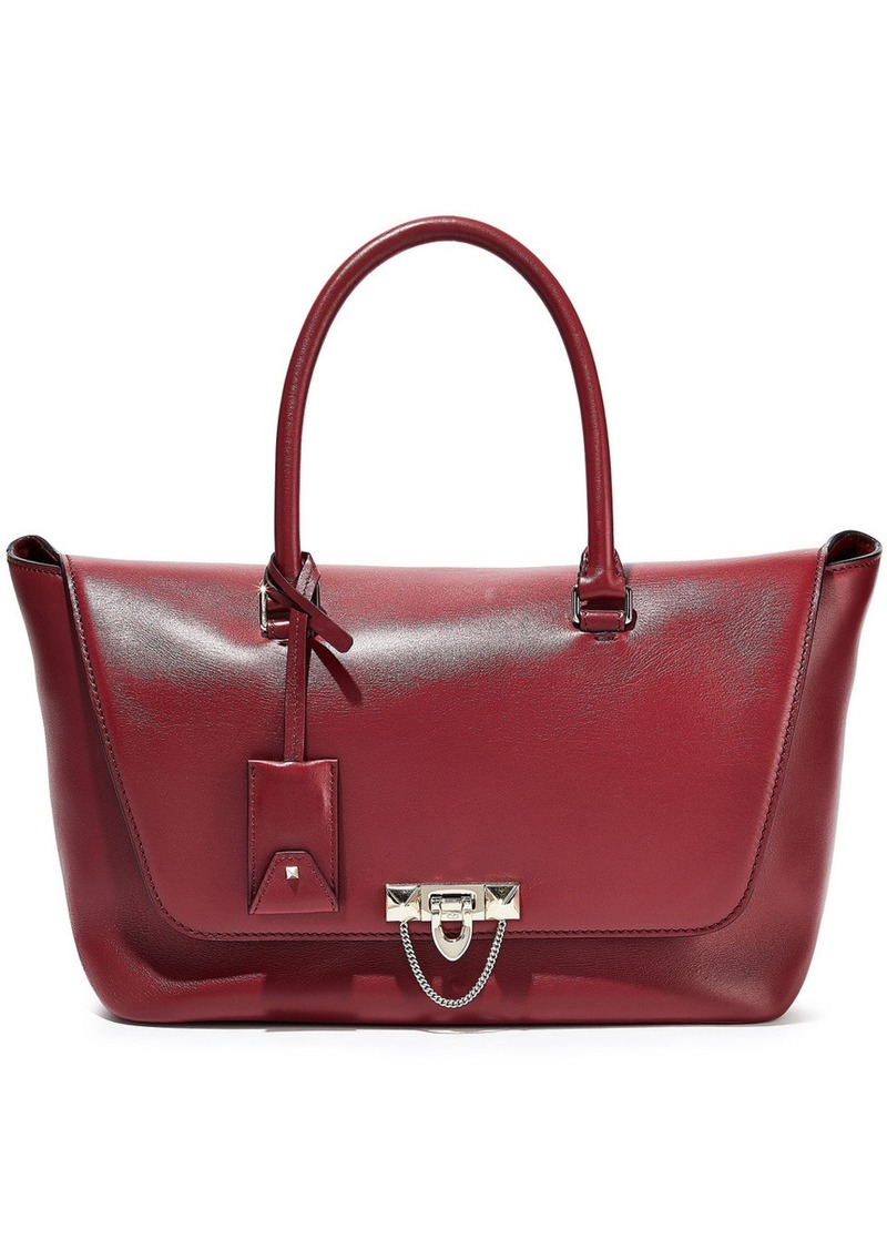 Valentino Garavani Woman Demilune Studded Leather Tote Claret
