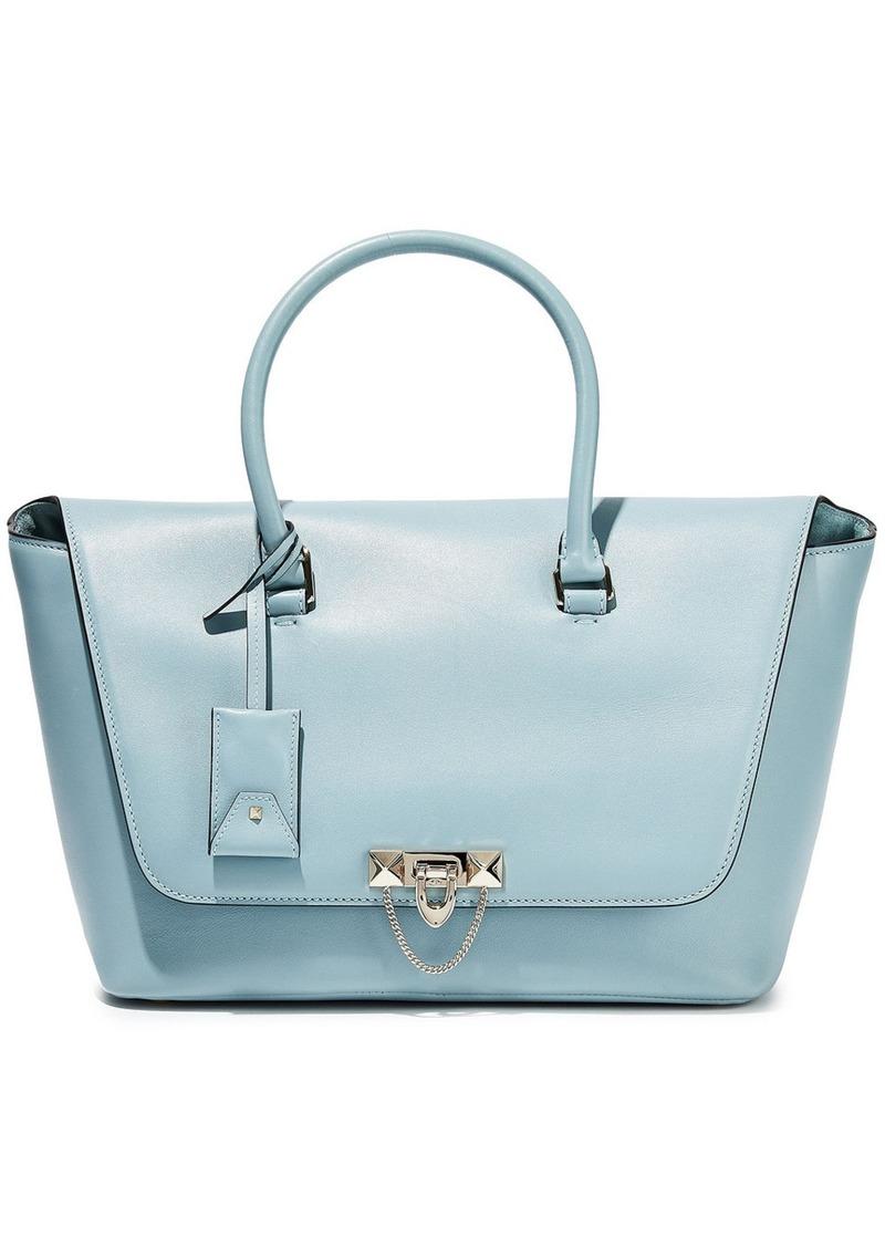 Valentino Garavani Woman Demilune Studded Leather Tote Sky Blue