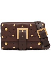 Valentino Garavani Woman Embellished Cutout Leather Shoulder Bag Chocolate