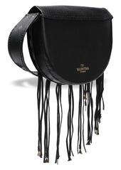 Valentino Garavani Woman Embellished Fringed Textured-leather Shoulder Bag Black