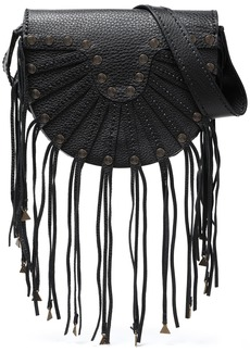 Valentino Garavani Woman Embellished Fringed Textured-leather Shoulder Bag Black