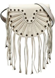 Valentino Garavani Woman Embellished Fringed Textured-leather Shoulder Bag Ivory