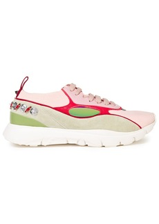 Valentino Garavani Woman Embellished Leather Suede And Stretch-knit Sneakers Multicolor