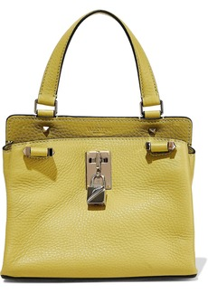 Valentino Garavani Woman Embellished Pebbled-leather Shoulder Bag Chartreuse