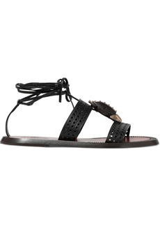 Valentino Garavani Woman Embellished Perforated Leather Sandals Black
