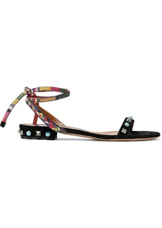 Valentino Garavani Woman Embellished Suede Sandals Black