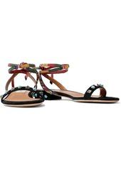 Valentino Garavani Woman Embellished Suede Sandals Black