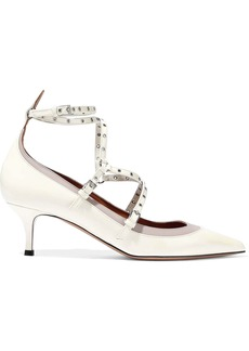Valentino Garavani Woman Embellished Two-tone Patent-leather Pumps Ivory
