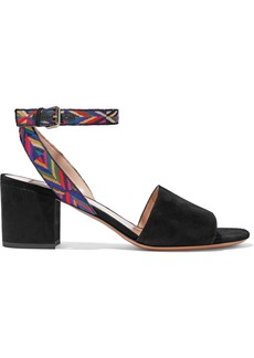 Valentino Garavani Woman Embroidered Suede Sandals Black
