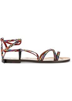 Valentino Garavani Woman Embroidered Leather Sandals Multicolor