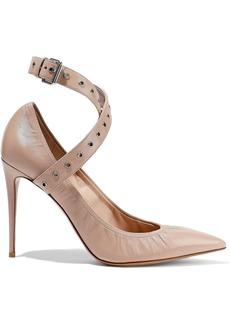 Valentino Garavani Woman Eyelet-embellished Leather Pumps Neutral