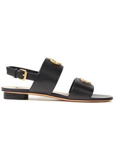Valentino Garavani Woman Eyelet-embellished Leather Sandals Black
