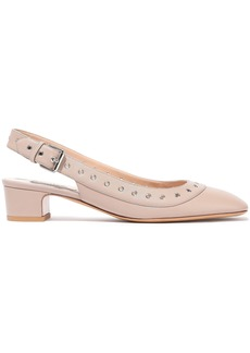 Valentino Garavani Woman Eyelet-embellished Leather Slingback Pumps Neutral
