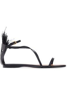 Valentino Garavani Woman Feather-embellished Leather Sandals Black