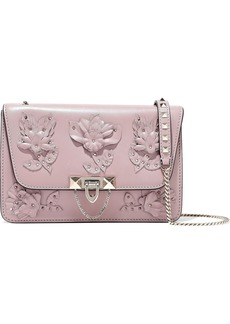 Valentino Garavani Woman Floral-appliquéd Leather Shoulder Bag Lilac